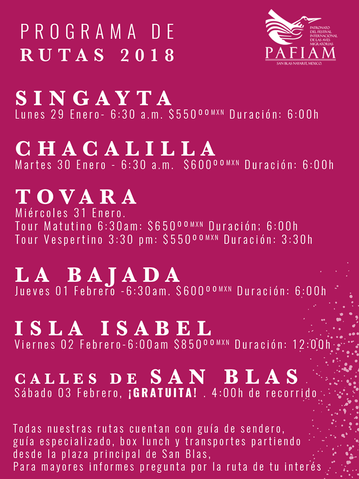 progrma festival de aves de san blas nayarit mexico 2018