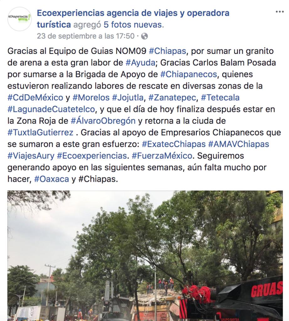 ecoexperiencias chiapas sismo 2017 mexico